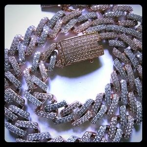 Other - White & Rose Gold Cuban Prong Chain/Bracelet Set
